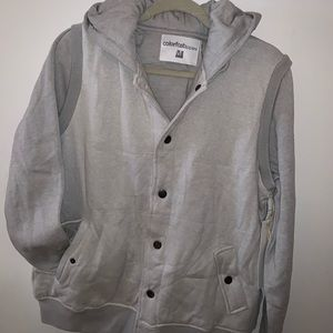 Gray men's jacket button up with hood